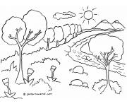 Gambar Untuk Diwarnai: Pemandangan Hutan Sungai