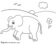 Gambar Mewarnai Gajah
