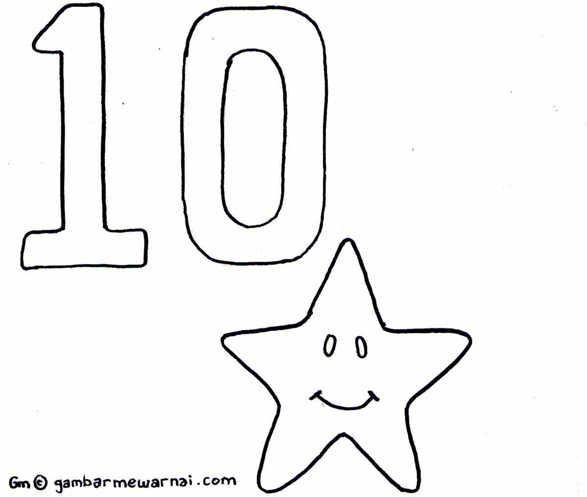 mewarnai angka 10