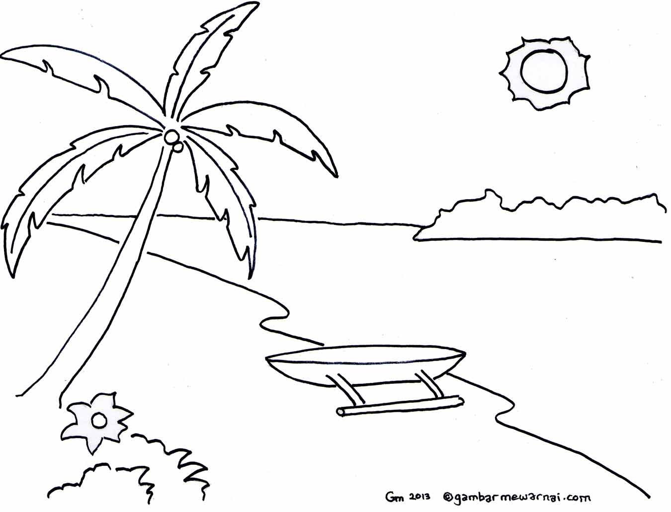 Mewarnai dapat melihat contoh gambar pemandangan pantai berikut