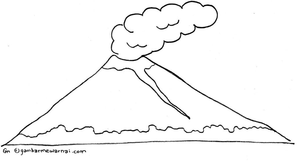 Gambar Mewarnai Gunung - Gambar Mewarnai