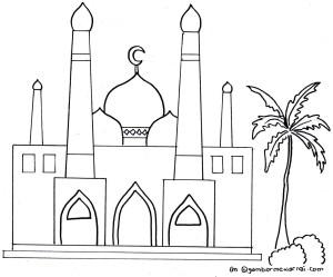 Gambar Mewarnai Masjid