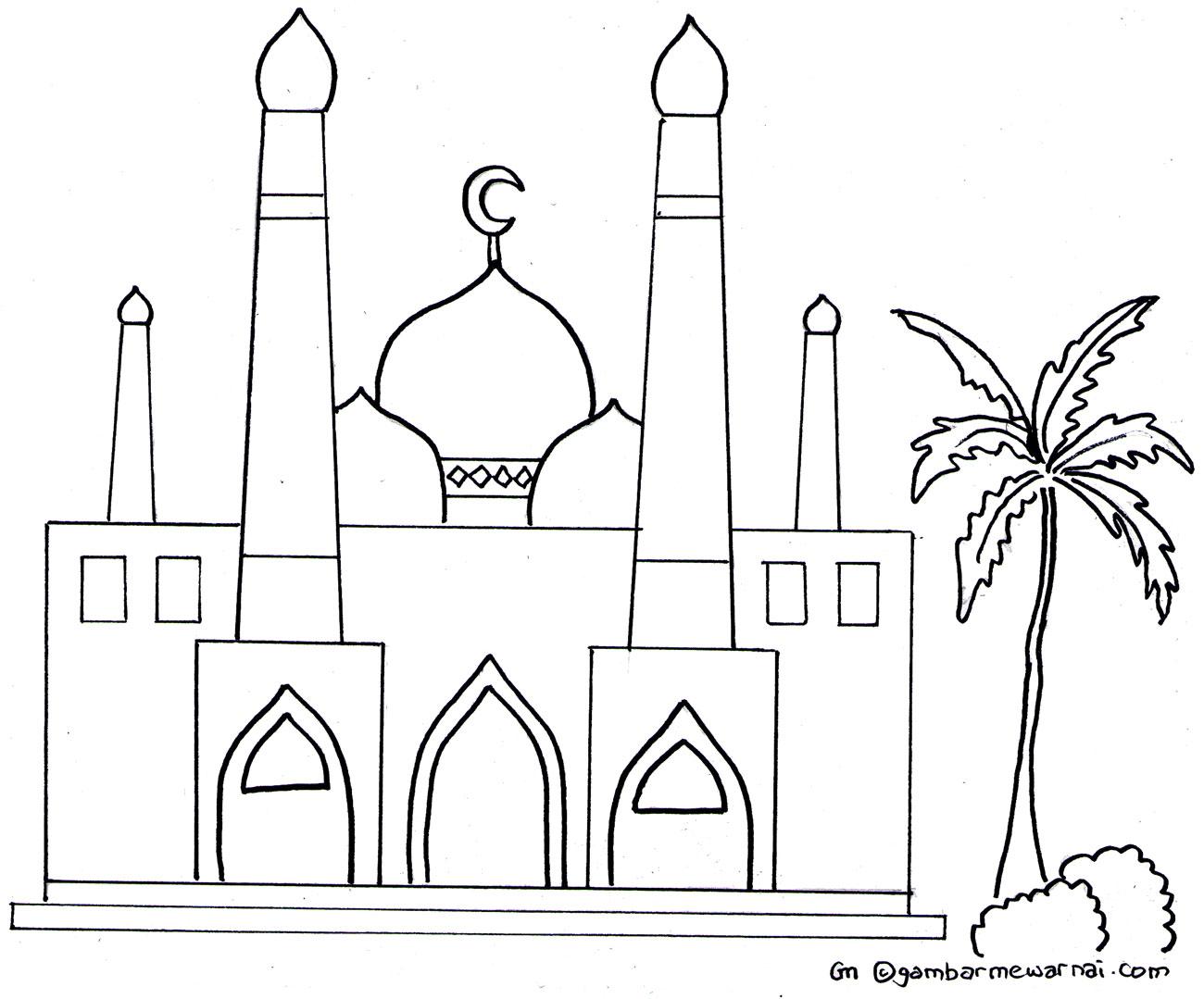 Gambar Mewarnai Masjid Jpg