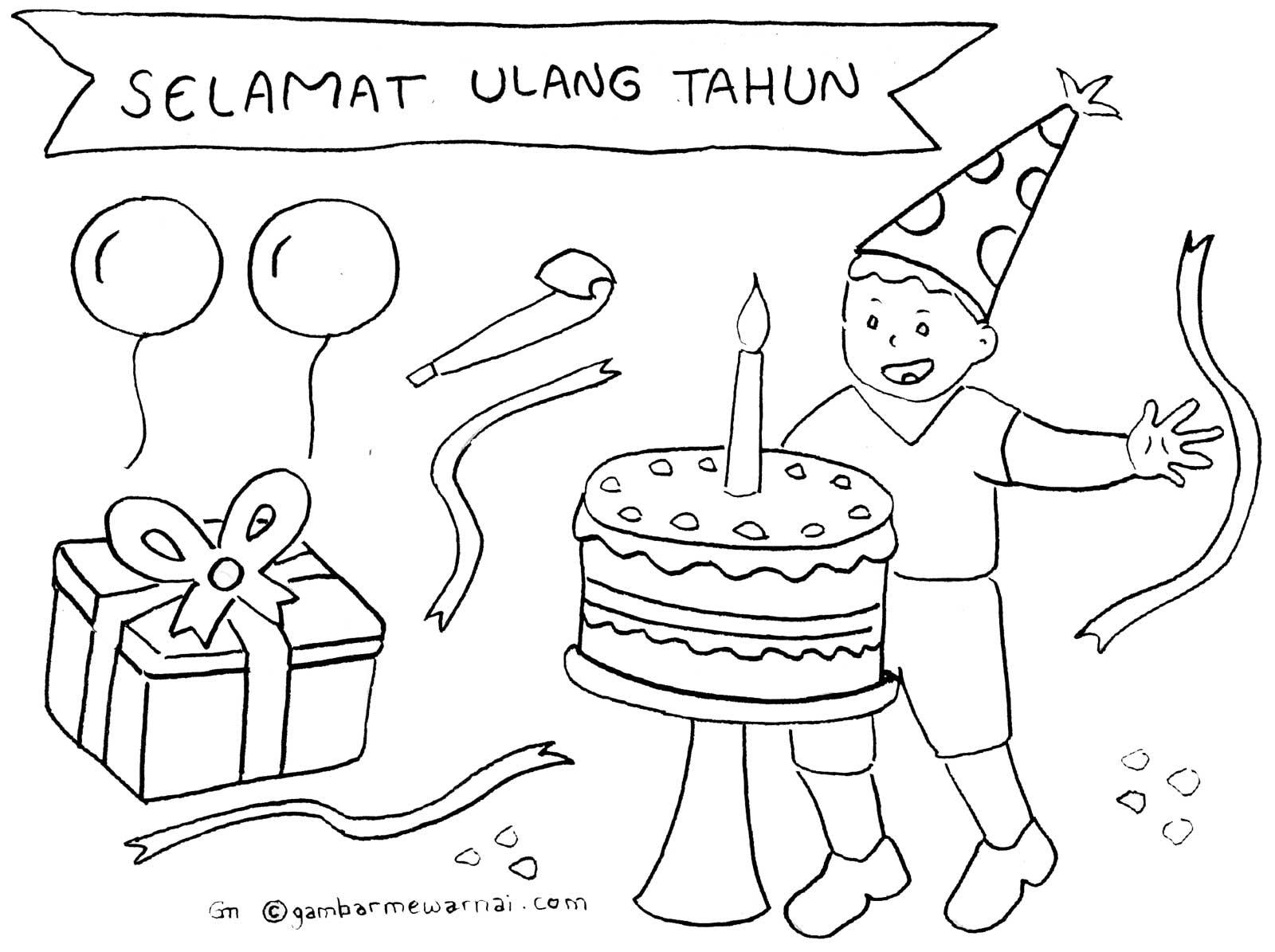 gambar mewarnai ulang tahun