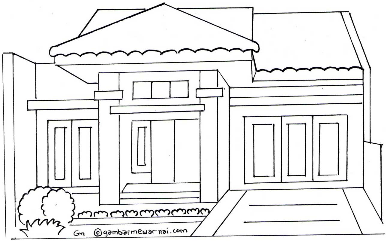 rumah colouring pages