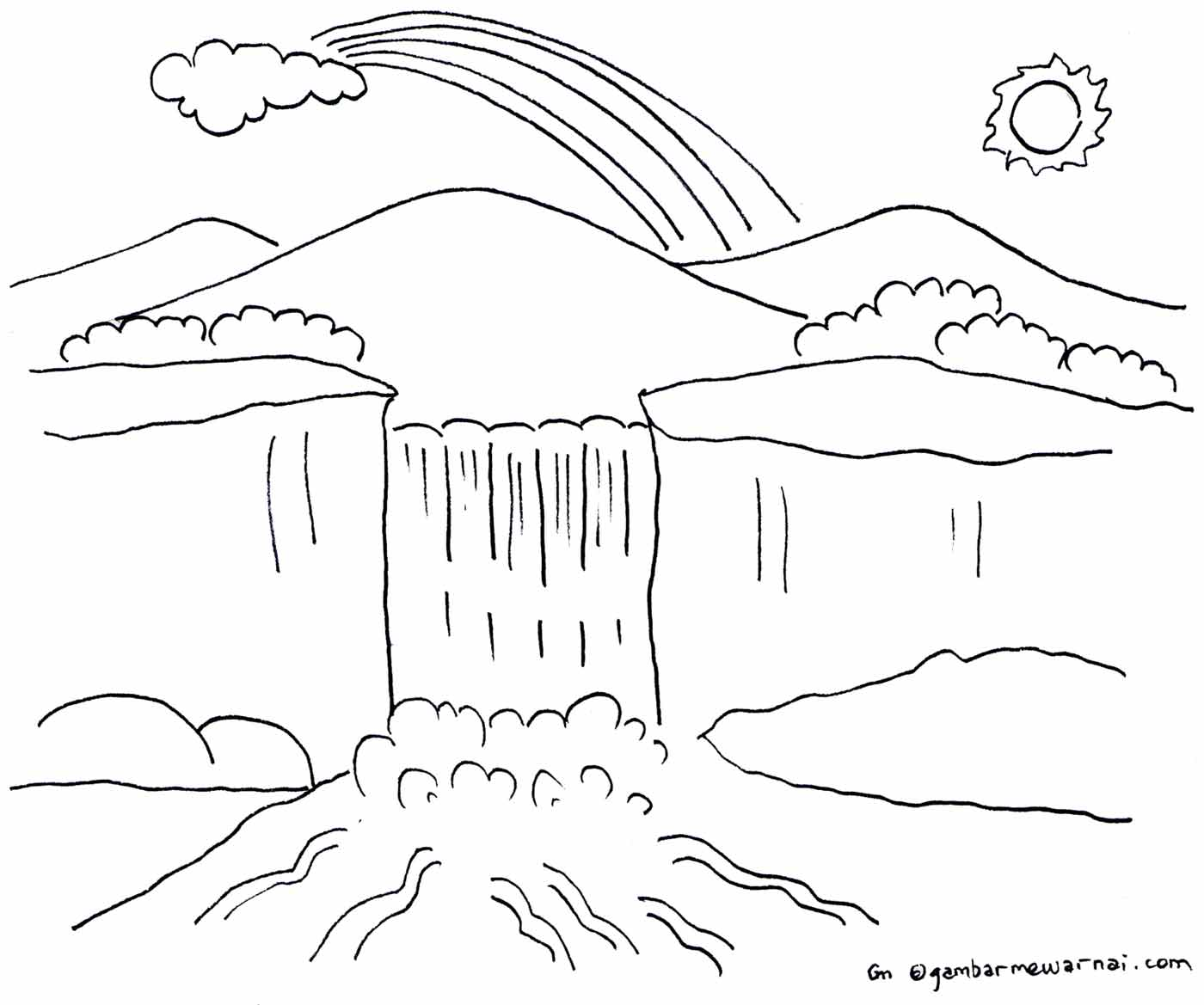 Free coloring pages of pemandangan alam