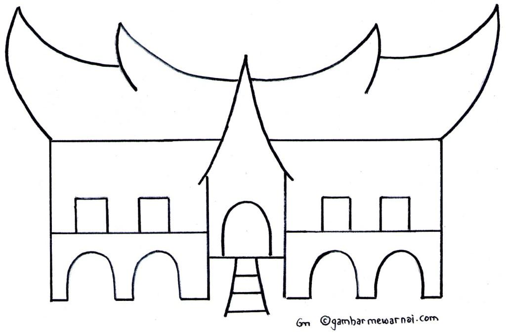 Gambar Mewarnai Rumah Adat Padang