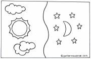 Gambar Mewarnai Matahari Bulan dan Bintang