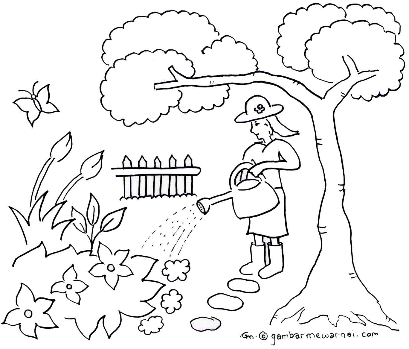 taman bunga colouring pages