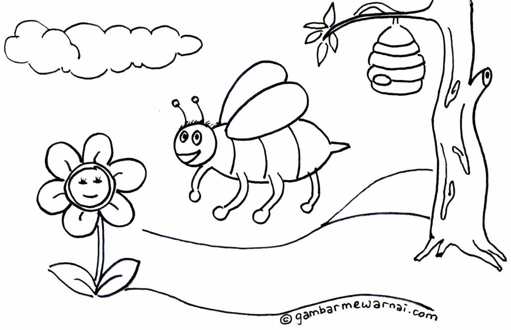 Contoh Gambar Mewarnai Lebah - Gambar Mewarnai