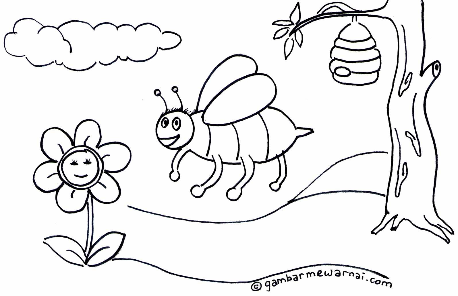 contoh gambar mewarnai lebah – koleksi gambar lebah kartun untuk