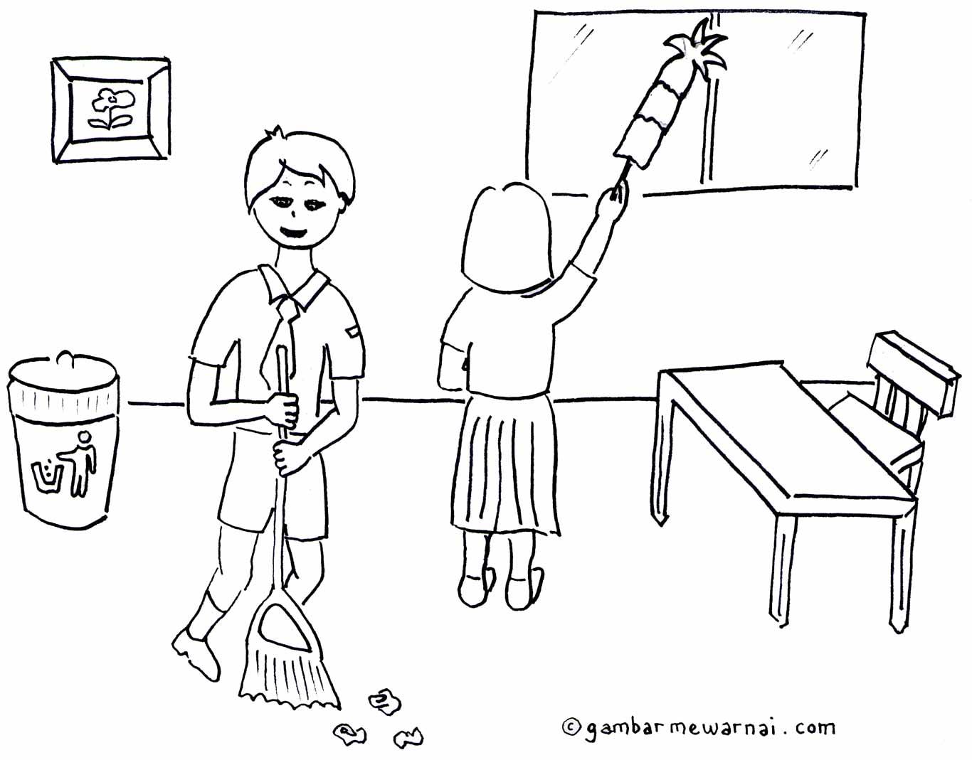 kebersihan lingkungan sekolah – contoh mewarnai kebersihan sekolah