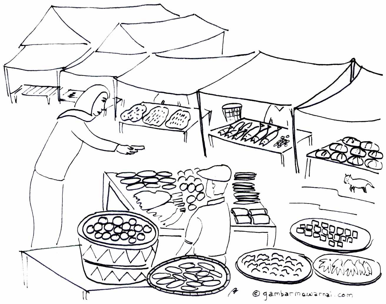 mewarnai gambar keramaian pasar
