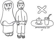 Gambar Mewarnai Anak Latihan Berpuasa Ramadhan