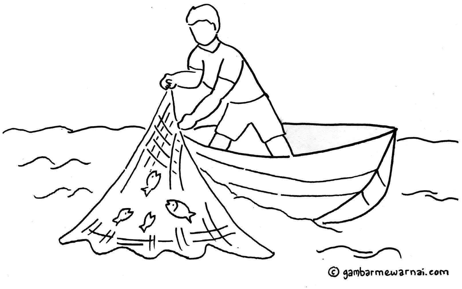 gambar mewarnai nelayan – contoh gambar nelayan sedang menjaring ...