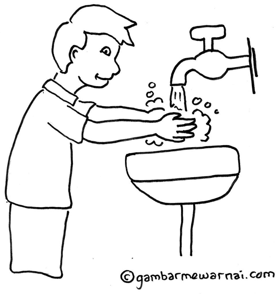 Contoh Gambar Mewarnai Anak Mencuci Tangan  Gambar Mewarnai