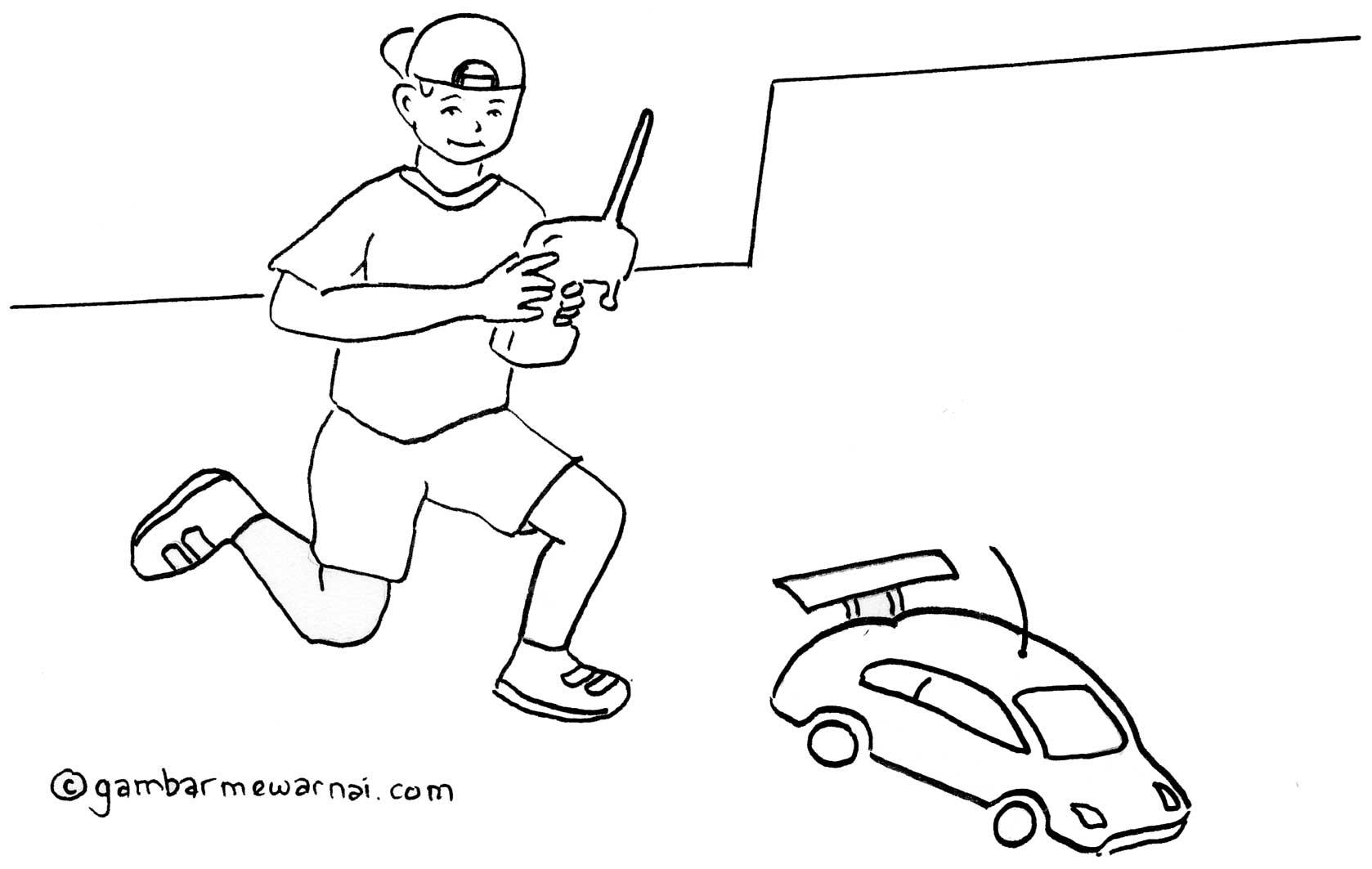 gambar mewarnai anak bermain mobil remote control