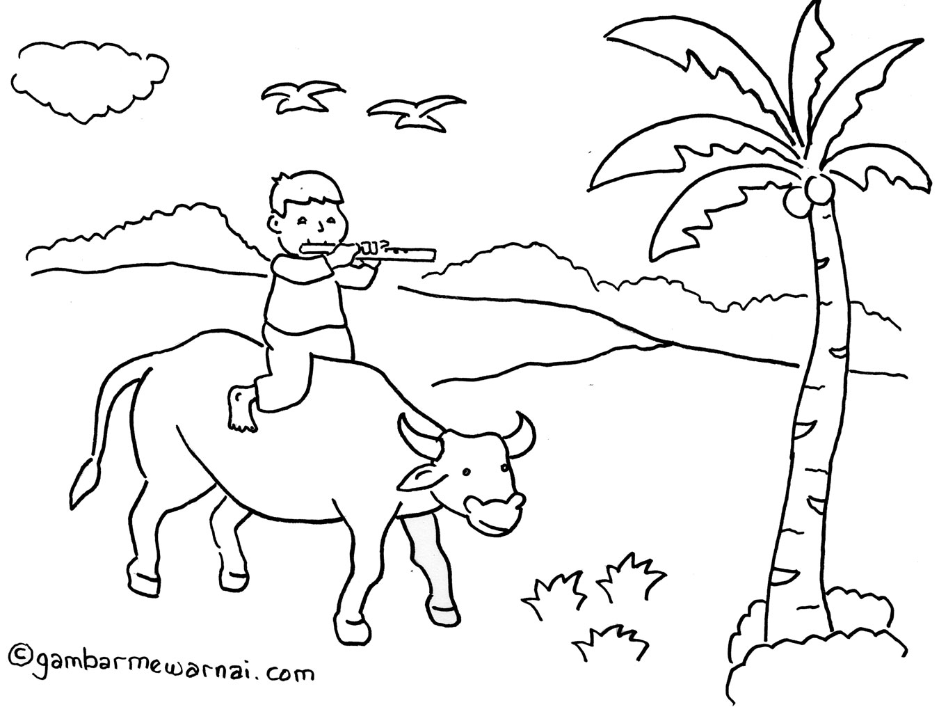 mewarnai gambar anak gembala – dengan latar belakang khas ...