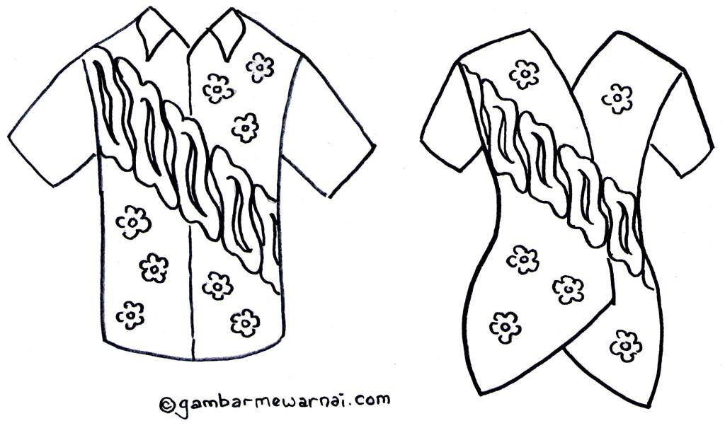 Gambar Mewarnai Baju Batik - Gambar Mewarnai