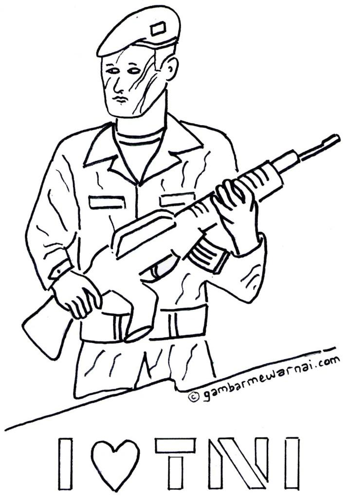 Gambar Mewarnai Tentara Gambar Mewarnai