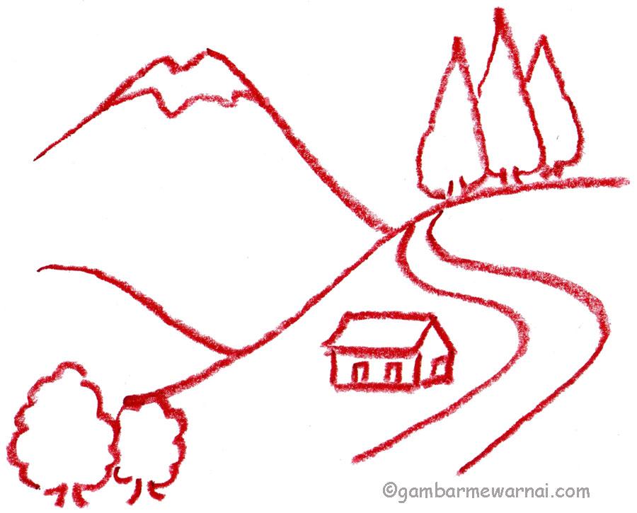 belajar menggambar pemandangan