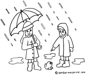 Mewarnai Gambar Musim Hujan - Gambar Mewarnai