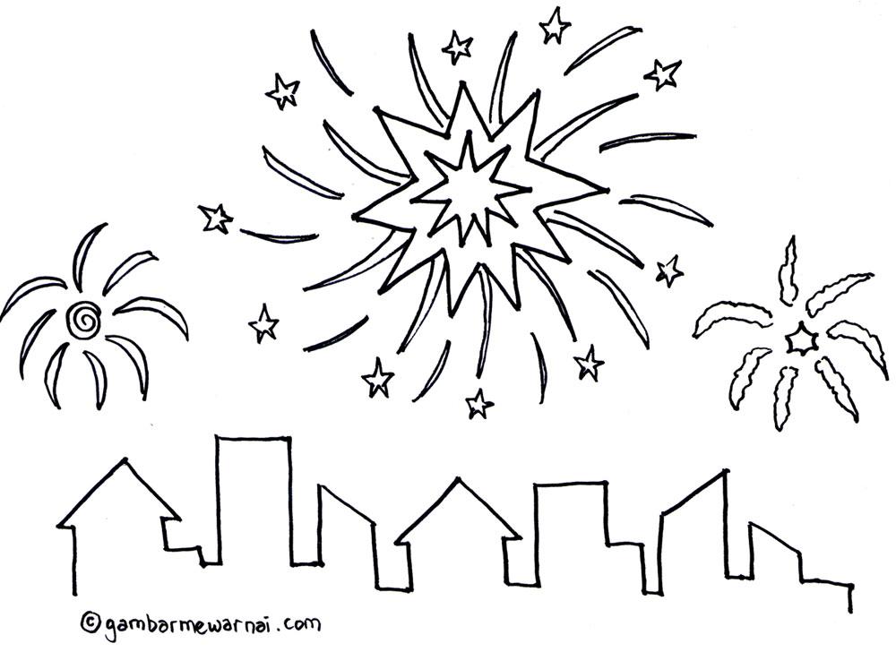 gambar mewarnai kembang api