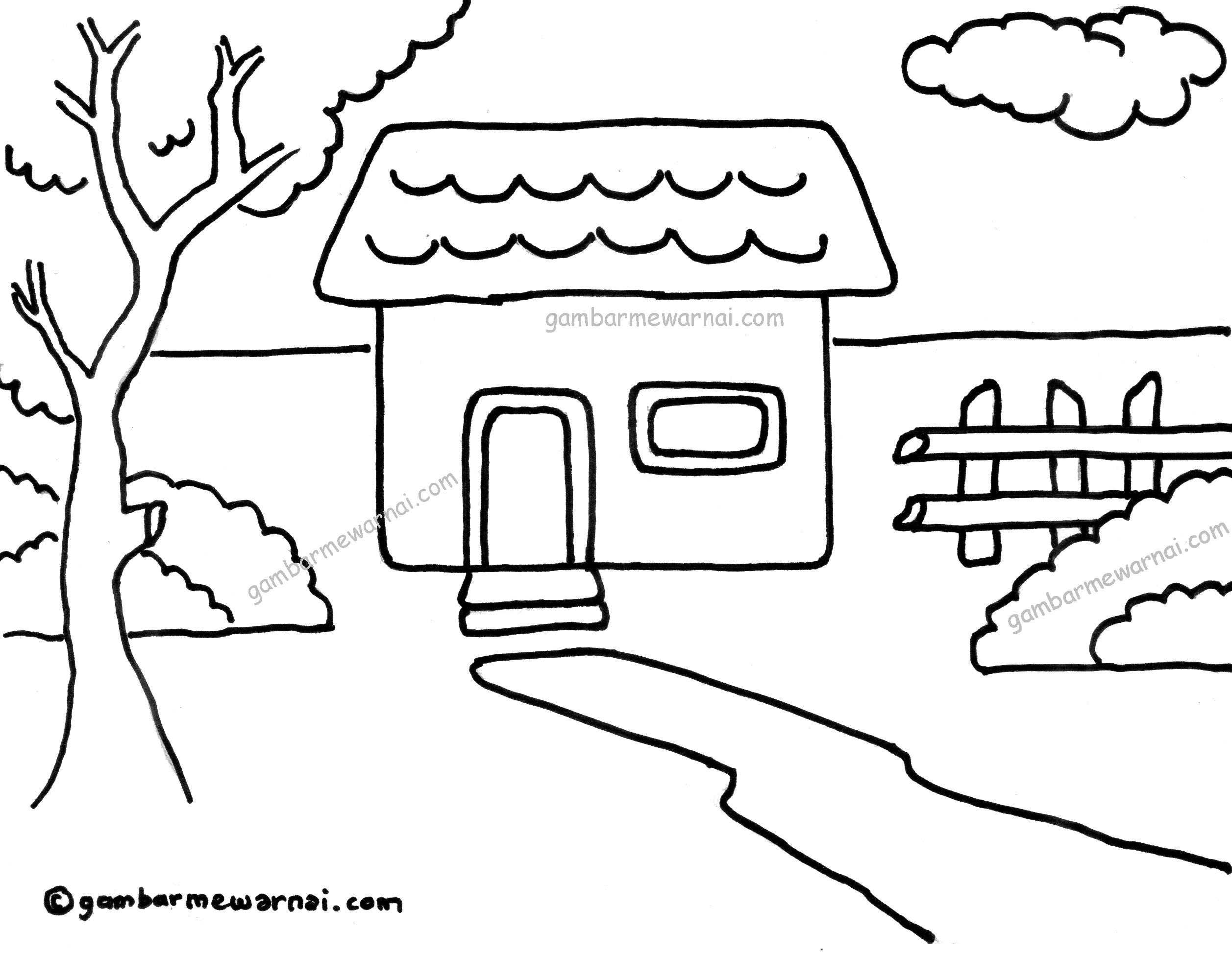 11 gambar mewarnai tema lingkungan rumah