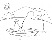 Gambar Mewarnai Memancing Ikan