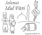 Gambar Mewarnai Hari Raya Idul Fitri