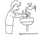 Contoh Gambar Mewarnai Anak Mencuci Tangan