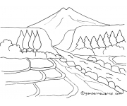 Mewarnai Gambar Pemandangan Gunung dan Sawah