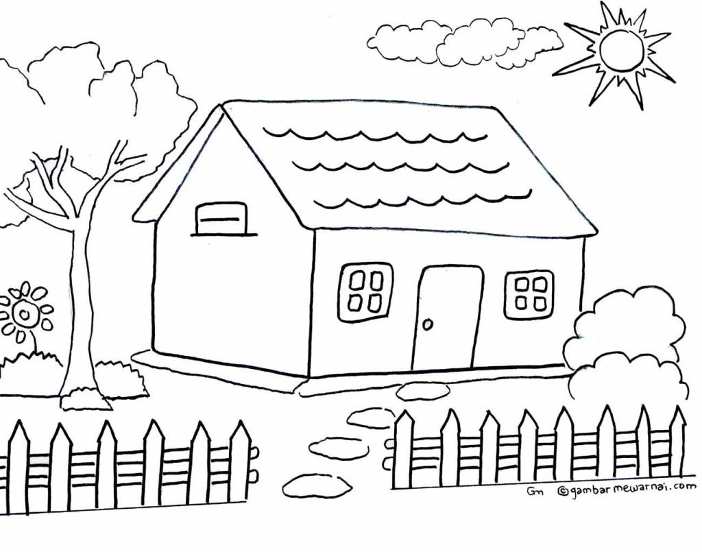 Mewarnai Gambar Rumah Dan Pemandangan Mewarnai Gambar
