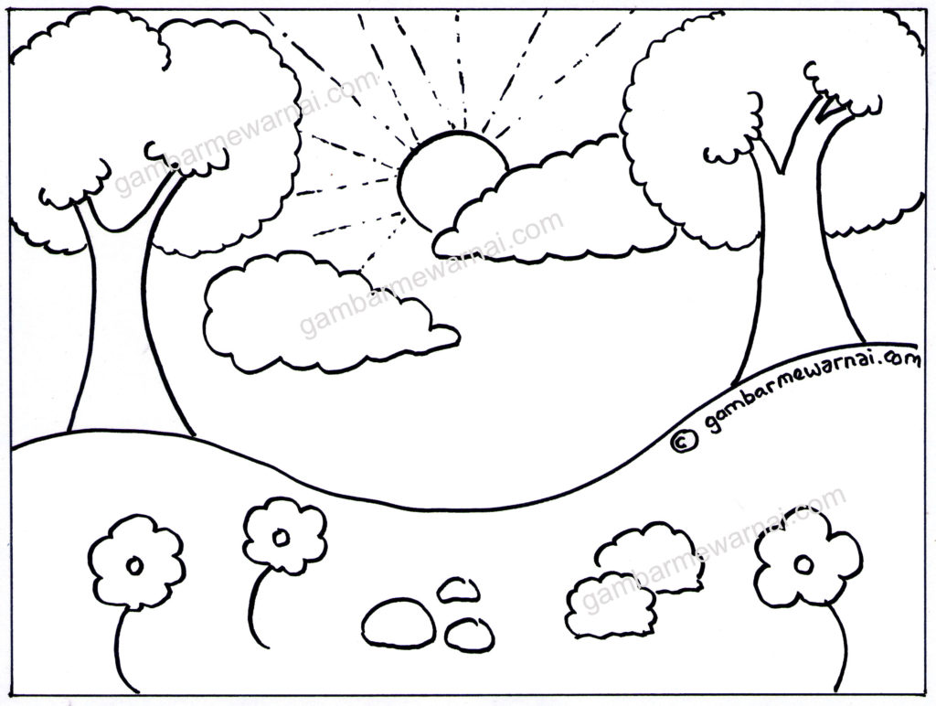 gambar mewarnai pemandangan lembah dan pohon